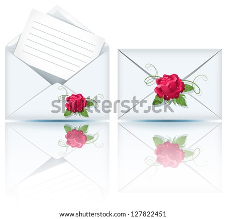 Two envelope with paper and roses - stock photo