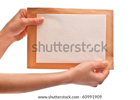 Two envelopes in woman's hands. Isolated on white background - stock photo