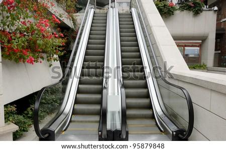 Two escalator in garden - stock photo