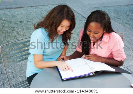 Two ethnic friends studying together laughing - stock photo