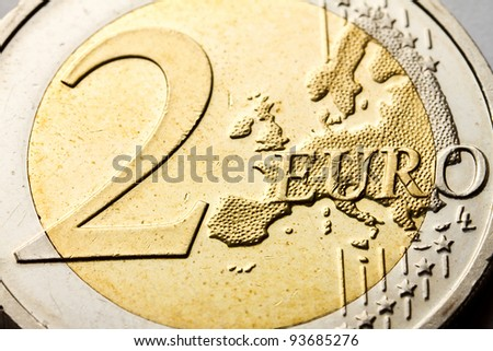 Two euro coin close up