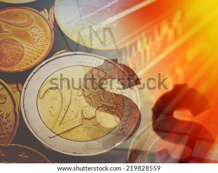 Two euro coin. Europe finance system concept. - stock photo