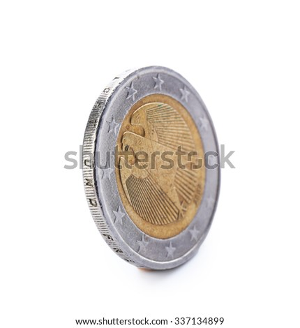 Two euro coin isolated on white background - stock photo