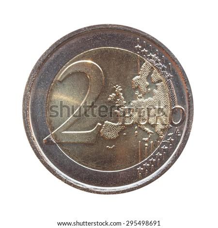 two euro (EUR) coin - stock photo