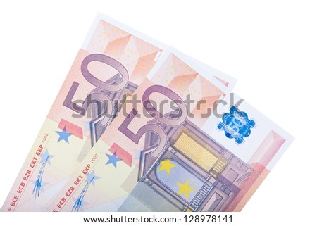 Two 50 euro notes. All on white background.