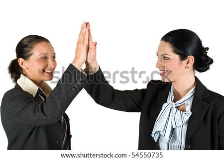 Two excited businesswoman team  give high five concept of successful business isolated on white background - stock photo