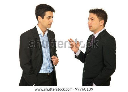 Two executive men having conversation isolated on white background