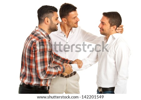 Two executives men congratulate their colleague isolated on white background