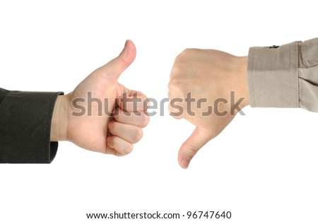 Two executives or businessmen disagreeing over a deal or contract by using hand signals - stock photo