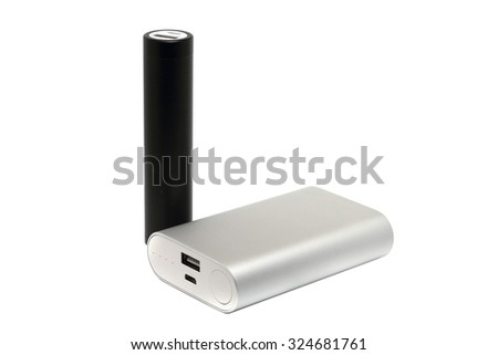 two external battery in aluminum case - stock photo
