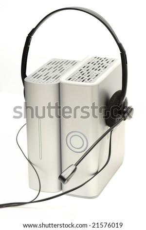 Two external hard drive with headset on white