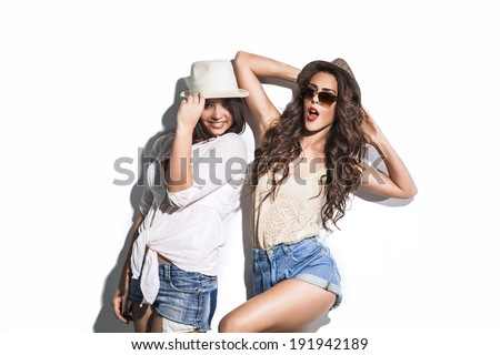 two fashion summer girls have fun  - stock photo