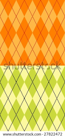 Two fashionable colored seamless argyle patterns - stock photo