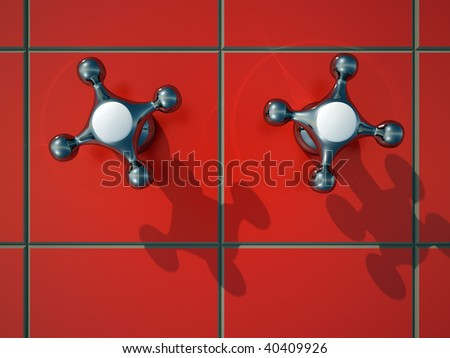 Two faucet tap on red wall tile - 3d render - stock photo