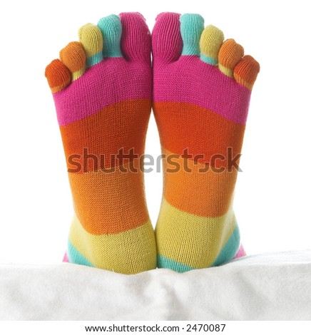 Two feet in stockings - stock photo