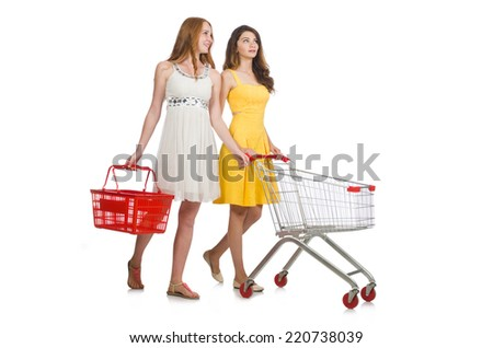 Two female friends during shopping  - stock photo