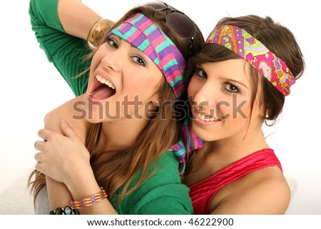 two female friends posing in hippie style - stock photo