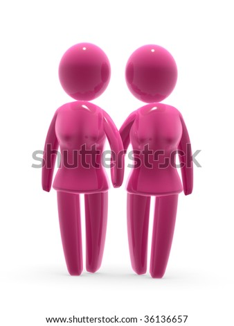 Two females in love. - stock photo