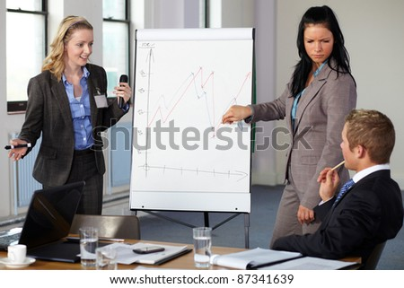 Two females standing and present graph on flipchart during business meeting. - stock photo