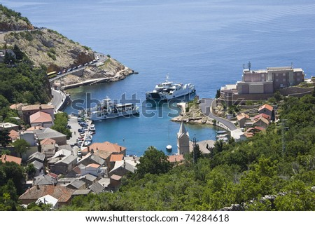 Two ferryboats in the croatian Harbor Jablanac, Rab Island - stock photo