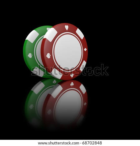 two fiches on black background - stock photo
