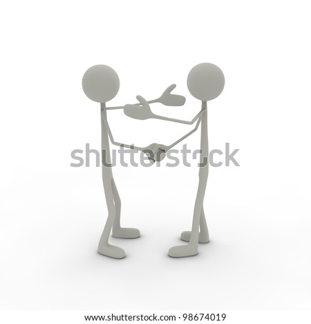 two figures are shaking hands with arms up - stock photo