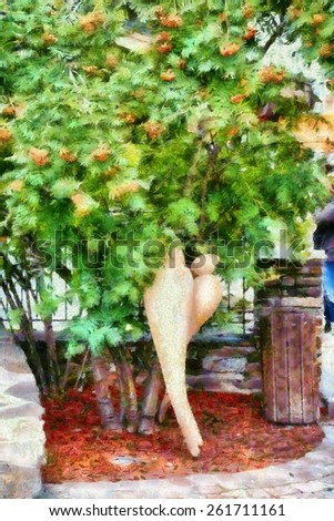 Two figures lovers kissing under tree painting - stock photo