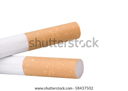 Two filtered cigarettes isolated on a white background.