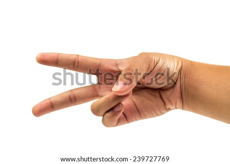 two finger and hand count number two on isolated white background