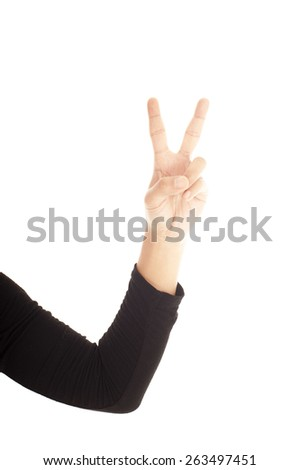 Two finger sign as hand gesture. - stock photo