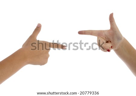 two fingers pointing each other on an isolated background - stock photo