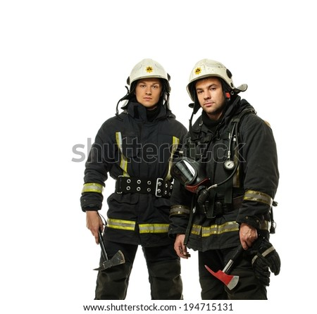 Two firefighter with axes isolated on white  - stock photo
