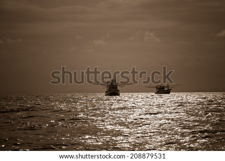 Two fishing boats and beautiful landscape in Andaman Sea, Phi Phi Island, Thailand. - stock photo