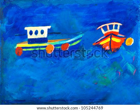 Two fishing boats at sea painting by Kay Gale - stock photo
