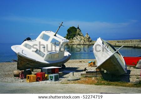 Two fishing boats on the seacost in Trpanj (Croatia) - stock photo