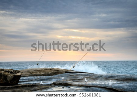 two fishing rods near the ocean