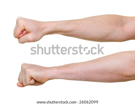 two fists from different side angles isolated on white background
