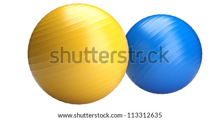 Two fitness balls isolated on white background - stock photo