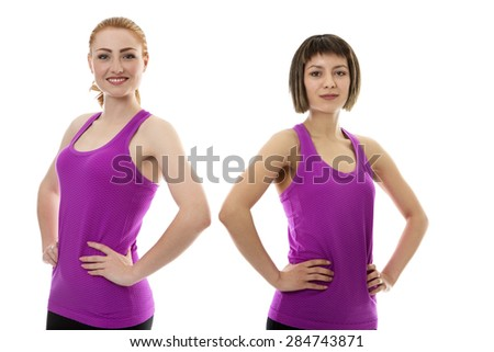 two fitness model wearing gym clothes