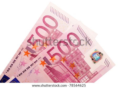 Two five-hundred-euro banknotes isolated over a white background. - stock photo