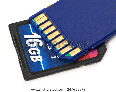 Two flash card SD isolated - stock photo