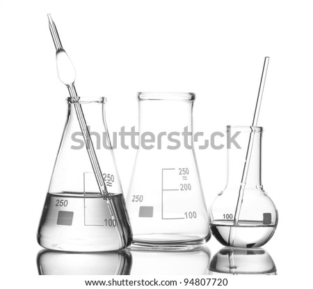 Two flasks with water and one empty flask with reflection isolated on white
