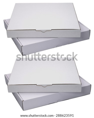 Two flat white cardboard boxes  isolated on white background. With shadow and without. - stock photo
