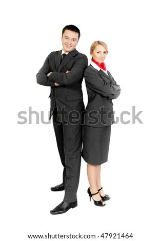 two flight attendants isolated on white background - stock photo