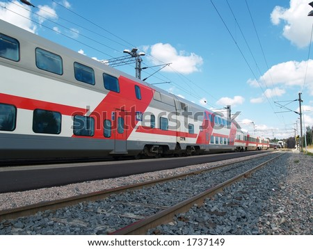 Two floor passenger train in a service, Finland - stock photo