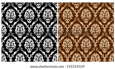 Two floral seamless arabesque patterns in different colors suitable for textile or print design. Vector version also available in gallery - stock photo