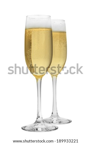 Two Fluted Glasses of Champagne Together Isolated on White Background. - stock photo