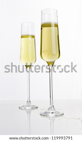 two flutes of champagne - stock photo