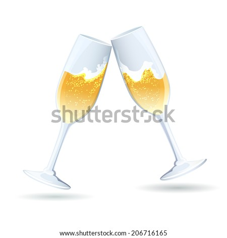 Two flutes of golden bubbly champagne tilted towards one another in a toast and congratulations to celebrate a wedding  anniversary  New Year  Valentines or a special romantic occasion - stock photo