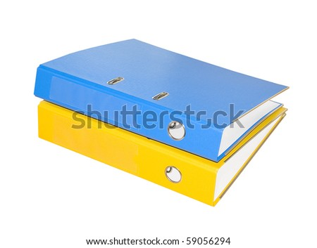 Two folders on a white background. Isolated. - stock photo